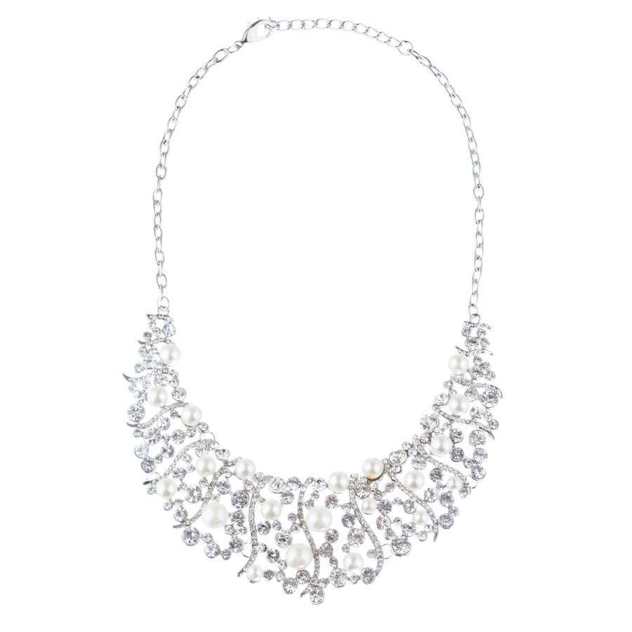 Bridal Wedding Jewelry Set Crystal Rhinestone Pearl Stunning Classy Bib Necklace