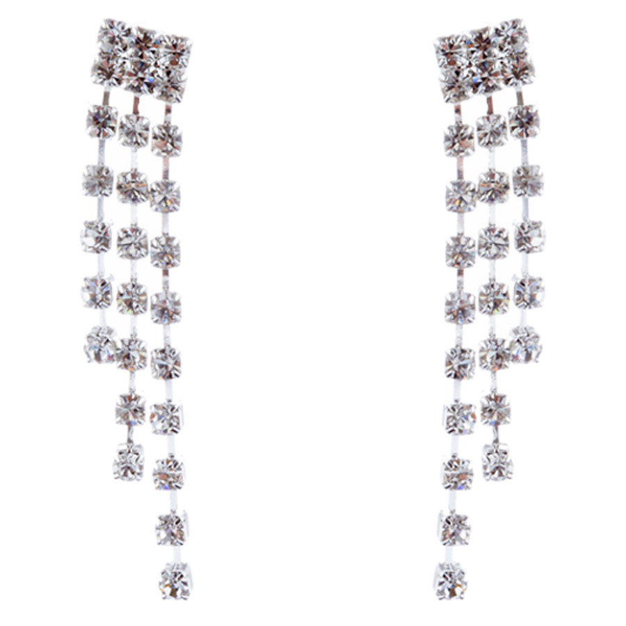 Bridal Wedding Jewelry Set Crystal Rhinestone Chic Sparkle Bib V Drop Necklace