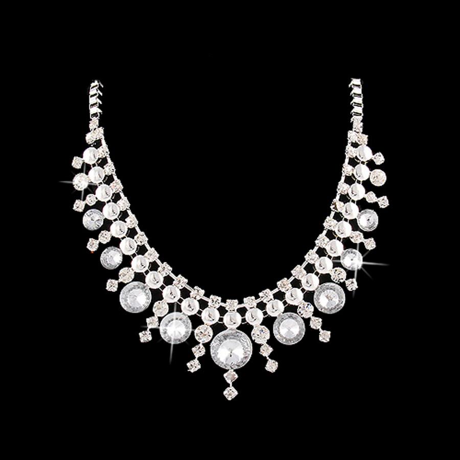 Stunning Chic Modern Dazzling Crystal Multi Dot Design Fashion Necklace Silver