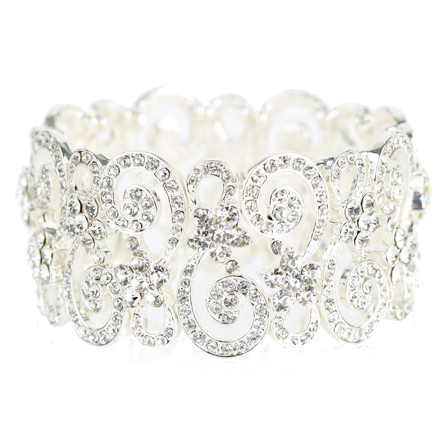 Bridal Wedding Prom Jewelry Crystal Rhinestone Vintage Stretch Bracelet B537 SV
