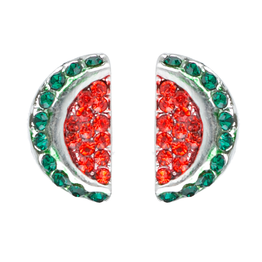 Adorable Crystal Rhinestone Watermelon Fruit Charm Stud Post Earrings E1191 Red