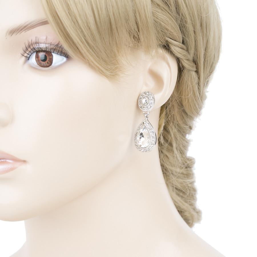 Bridal Wedding Jewelry Prom Crystal Rhinestone Teardrop Dangle Earrings E1197 SV