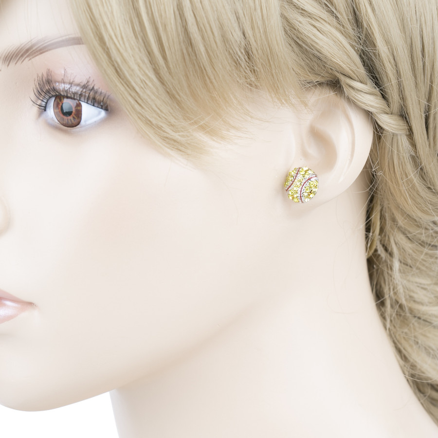 Sport Softball Crystal Rhinestone Stud Post Fashion Earrings Small E1199 Yellow