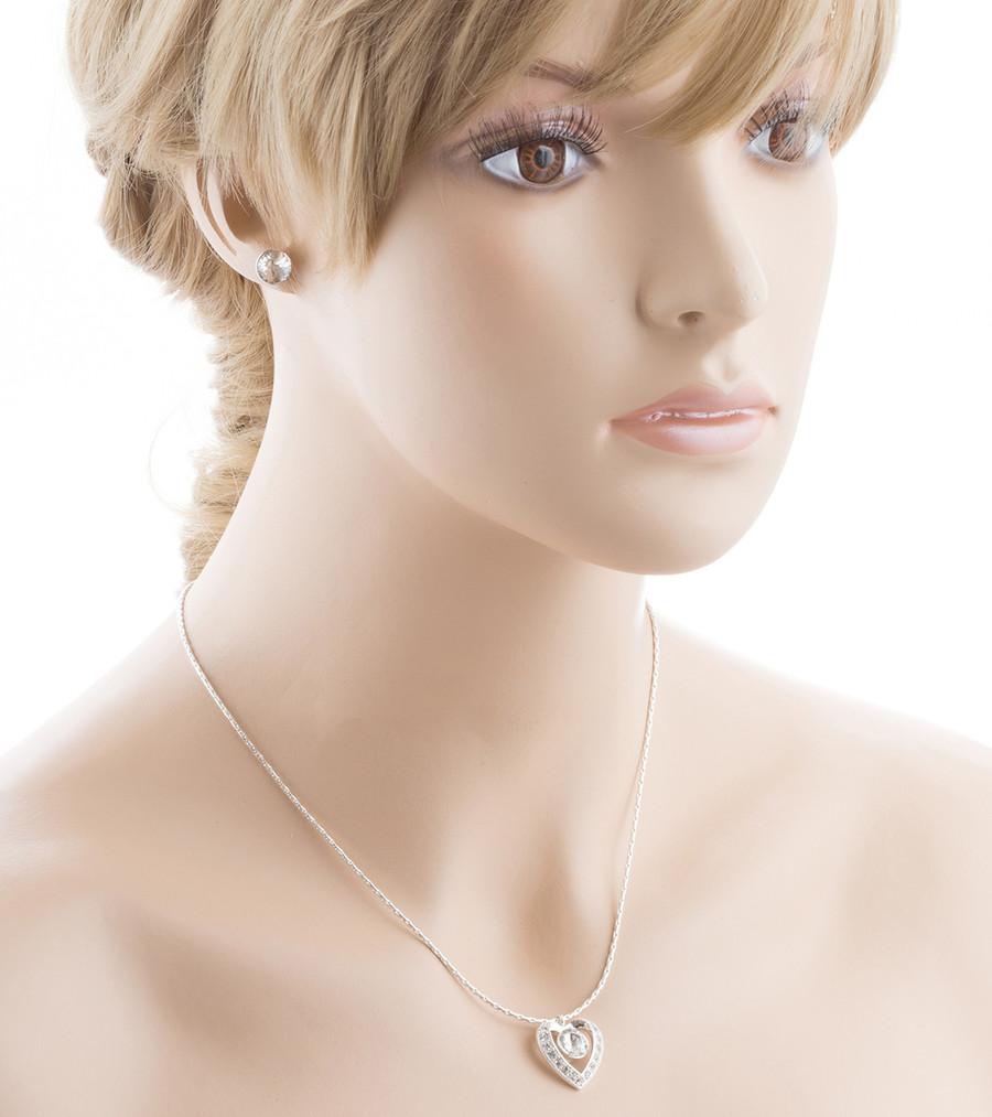 Bridal Wedding Jewelry Crystal Rhinestone Heart Necklace J413