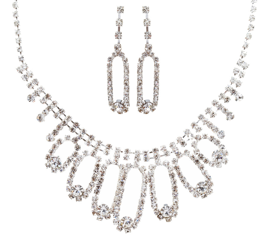 Bridal Wedding Jewelry Set Prom Crystal Rhinestone Beautiful Necklace J456 SV