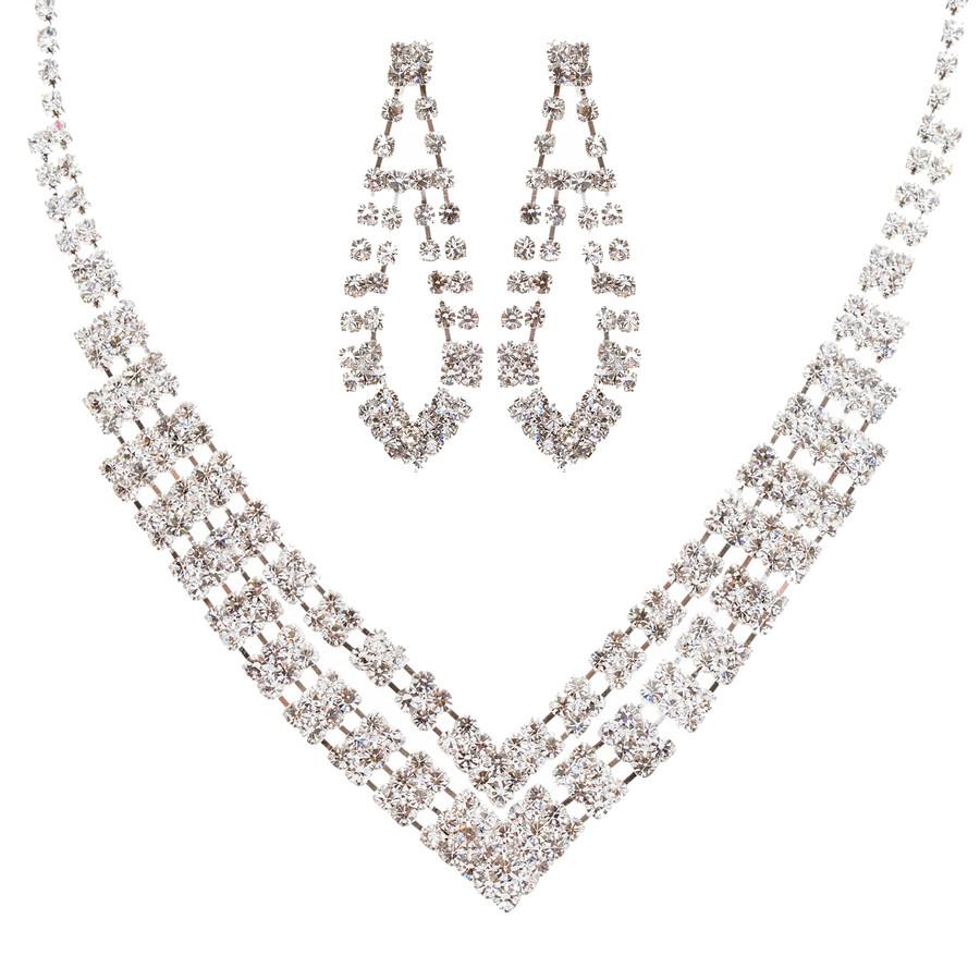 Bridal Wedding Jewelry Set Prom Crystal Rhinestone Modern Necklace J457 SV