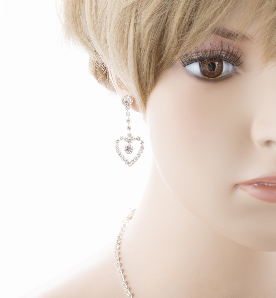 Bridal Wedding Jewelry Prom Heart Link Crystal Rhinestone Necklace Set J459 SV