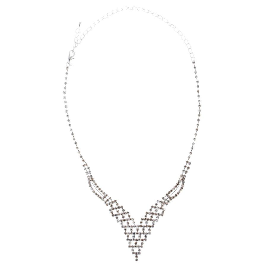 Bridal Wedding Jewelry Set Prom Crystal Rhinestone Trendy Chic Necklace J460 SV