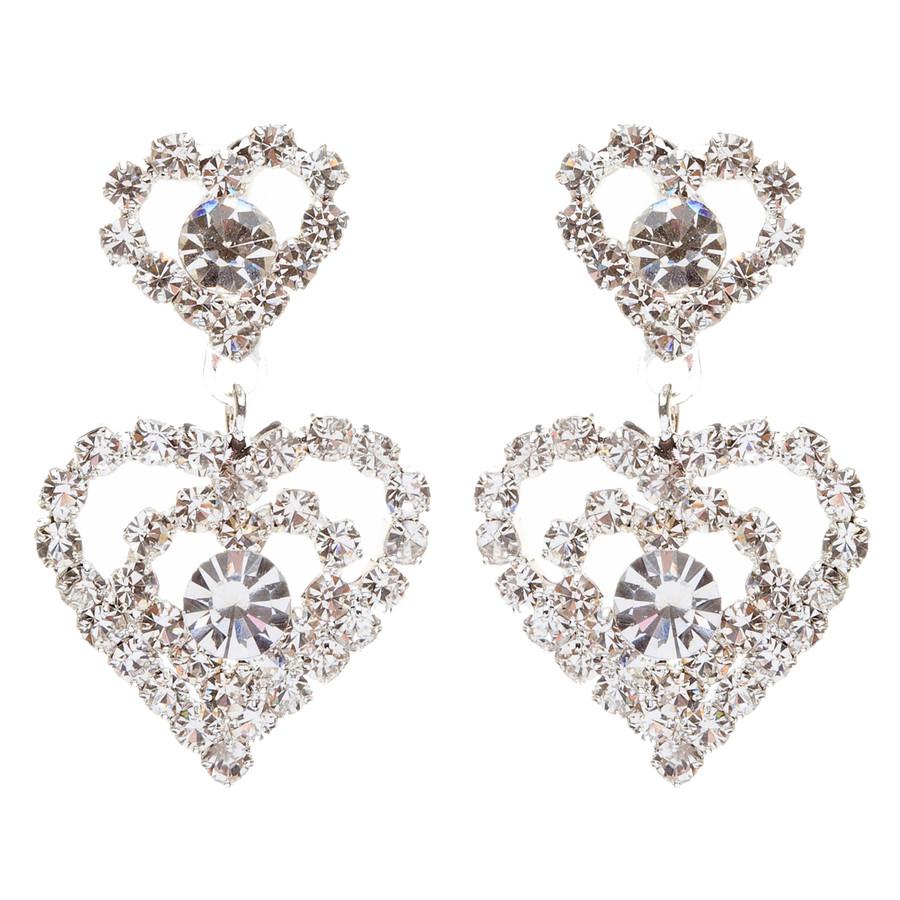Bridal Wedding Jewelry Prom Heart Crystal Rhinestone Necklace Set J463 SV