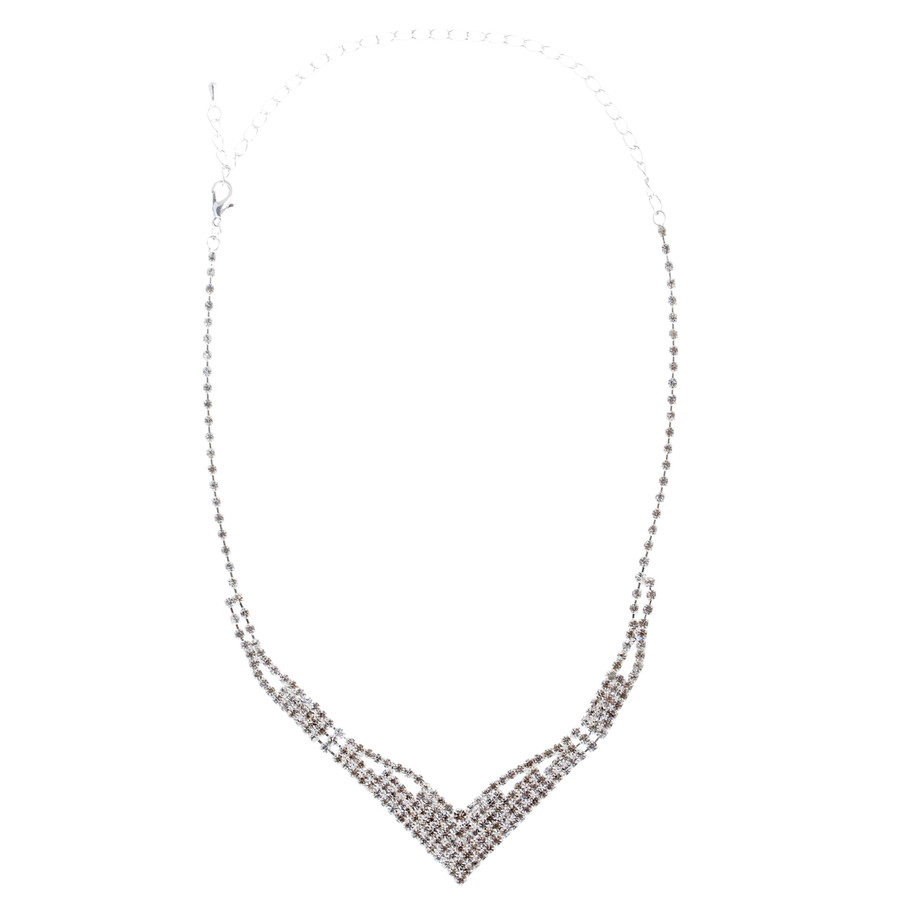 Bridal Wedding Jewelry Set Prom Crystal Rhinestone Modern Necklace J465 SV