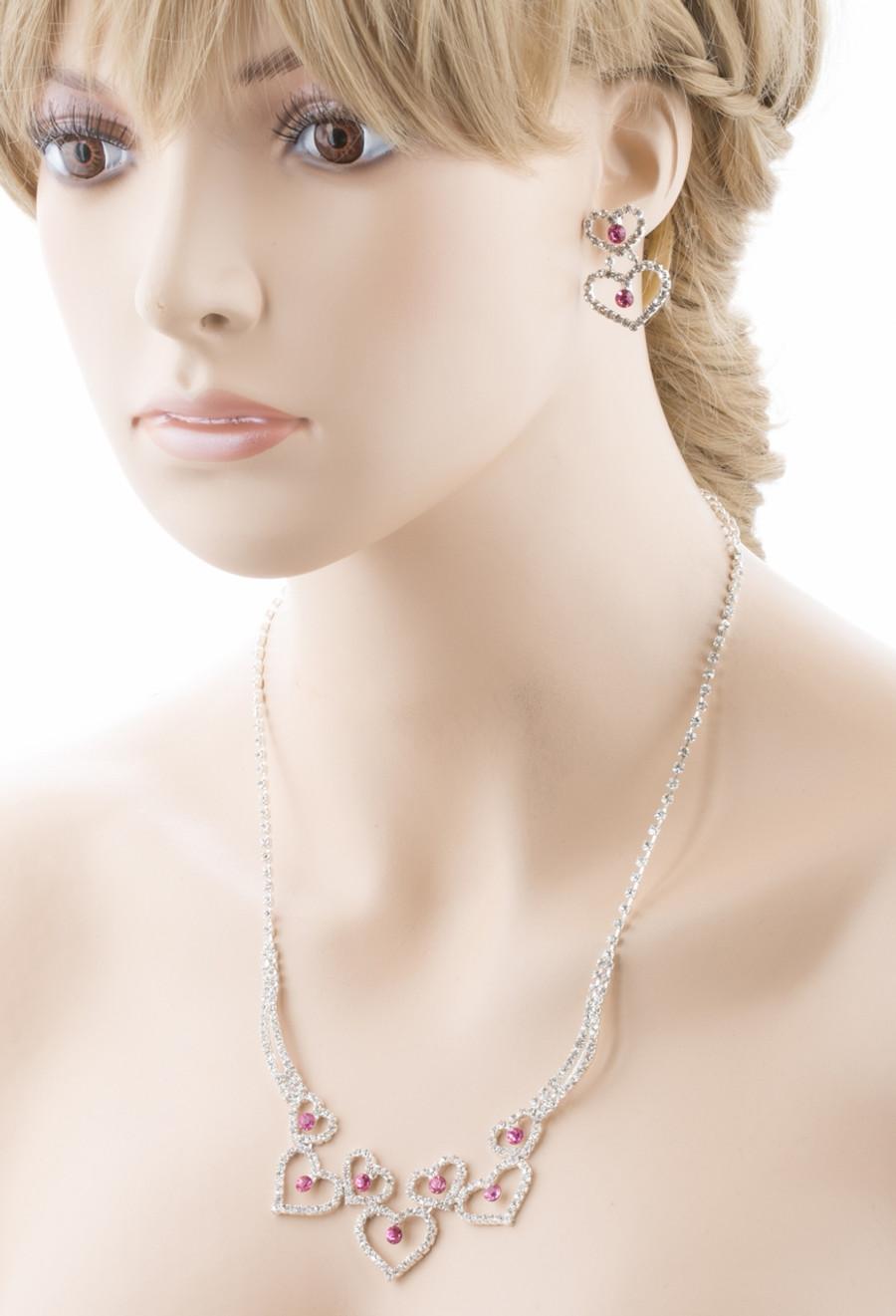 Valentines Jewelry Bridal Wedding Prom Fashion Heart Link Necklace Set J467 Pink