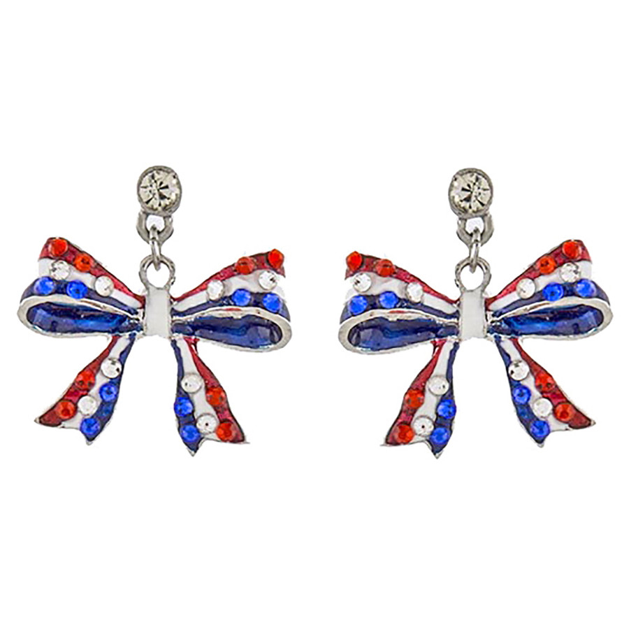 Patriotic Jewelry American Flag Ribbon Bow Crystal Dangle Earrings E1210 Silver