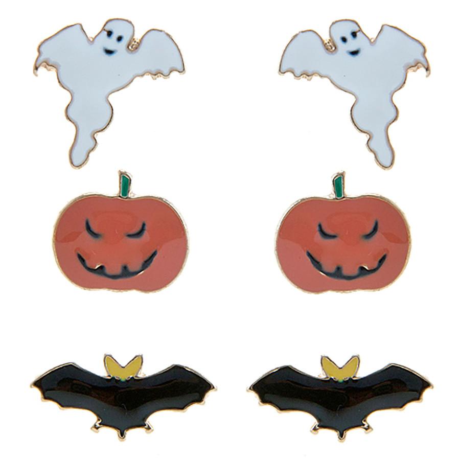 Halloween Costume Jewelry Ghost Pumpkin Bat 3 Sets Mini Earrings E1221