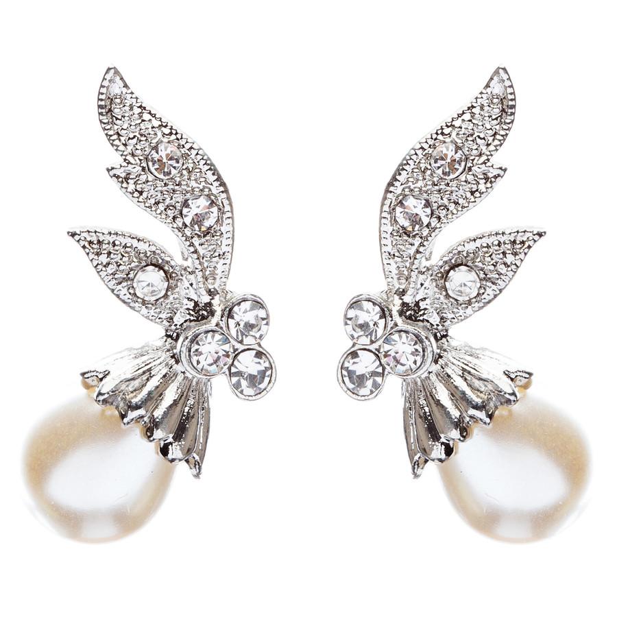 Bridal Wedding Prom Jewelry Crystal Rhinestone Vintage Pearl Earrings E434