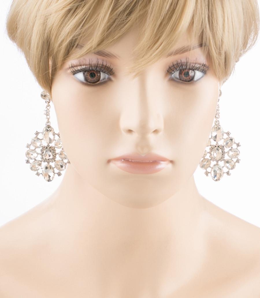 Bridal Wedding Jewelry Crystal Rhinestone Dangle Drop Earrings E611SV