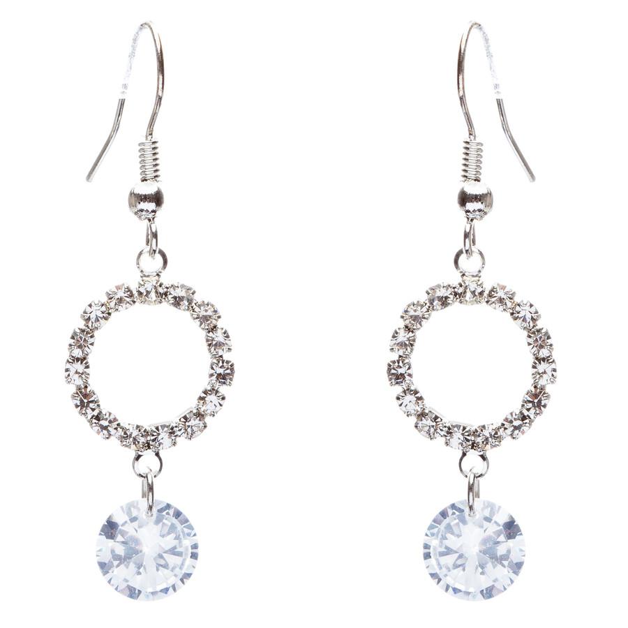 Bridal Wedding Jewelry Prom Crystal Rhinestone Classic Dangle Earrings E870