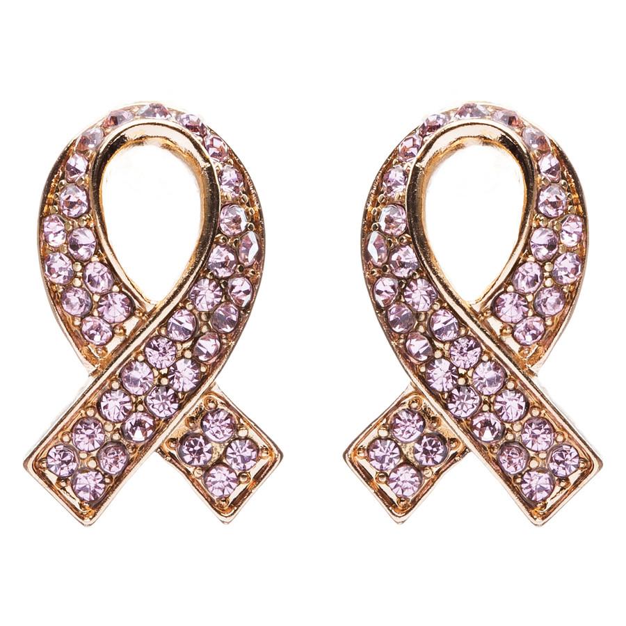 Pink Ribbon Breast Cancer Awareness Jewelry Crystal Rhinestone Earrings E608