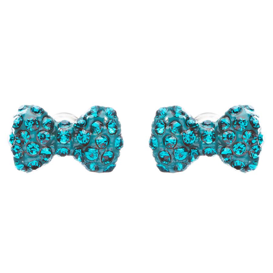Adorable Mini Bow Tie Ribbon Sweet Fashion Stud Style Earrings E872 Teal