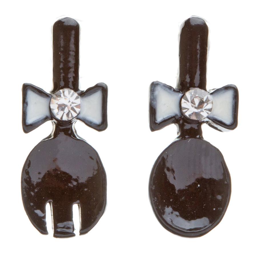 Funky Fashion Crystal Rhinestone Adorable Spoon And Fork Earrings E706 Black