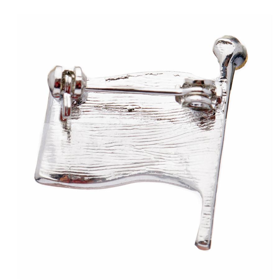 Patriotic Jewelry American Flag Crystal Rhinestone Brooch Pin BH56 Silver