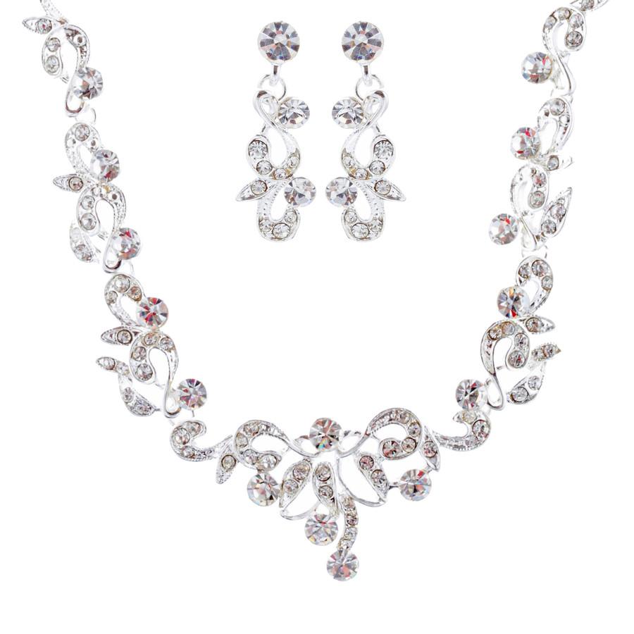 Bridal Wedding Prom Jewelry Set Crystal Rhinestone Stunning Design J410 Silver