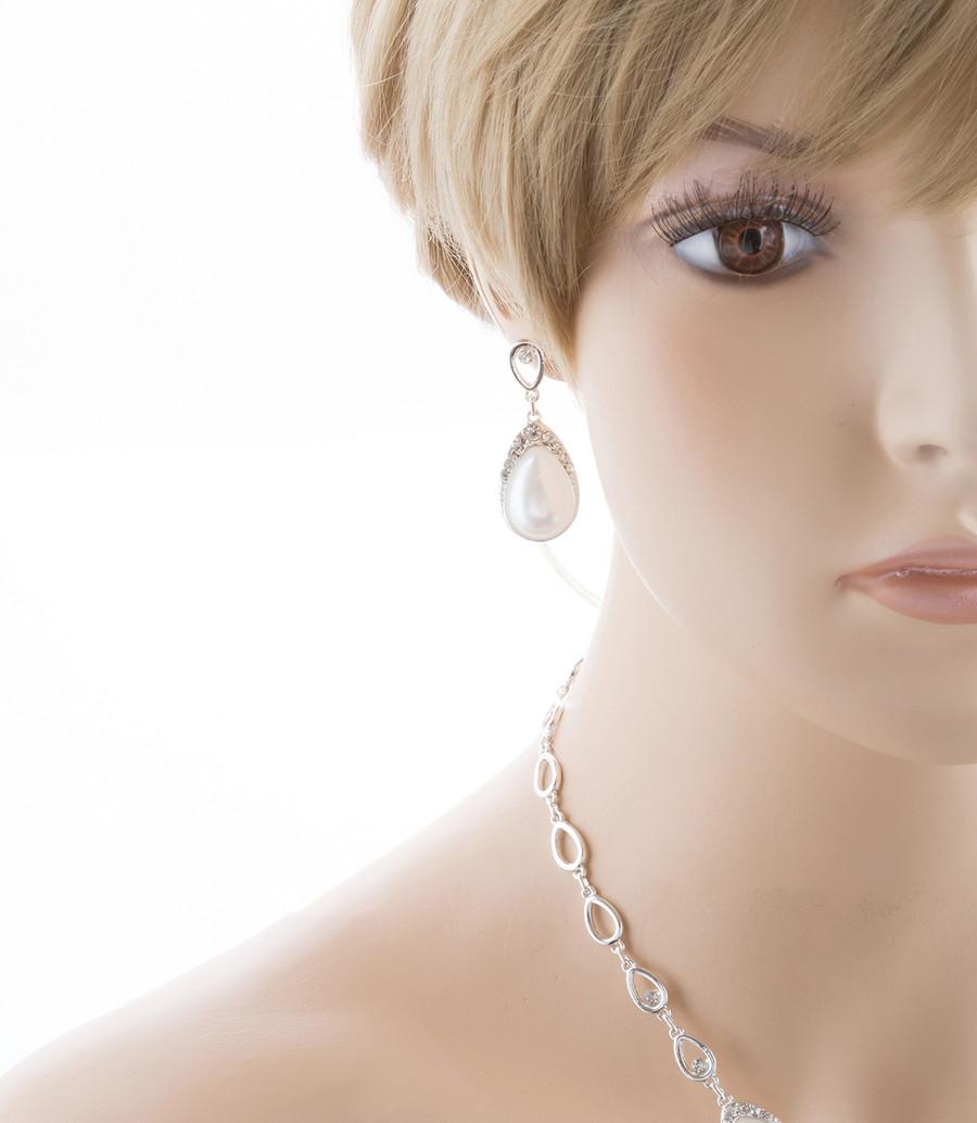 Bridal Wedding Prom Jewelry Set Crystal Rhinestone Pearl Brilliant J411 SV White