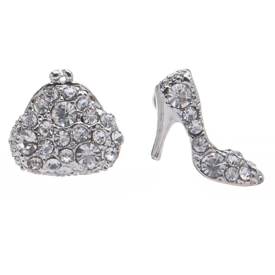Adorable Purse High Heel Shoes Stud Style Rhinestone Fashion Earrings E487