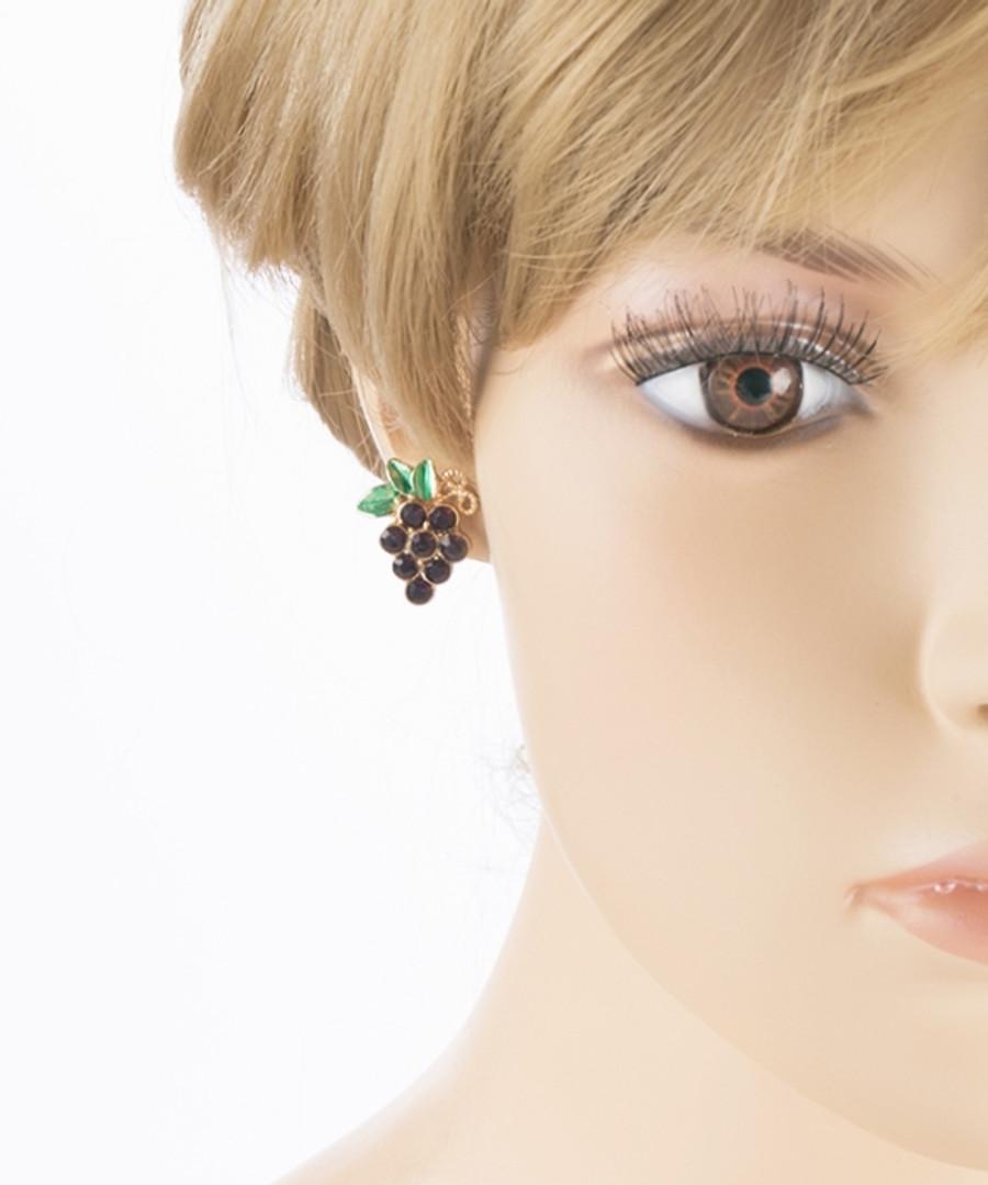 Adorable Crystal Rhinestone Grape Fruit Charm Stud Post Earring E489 Gold Purple