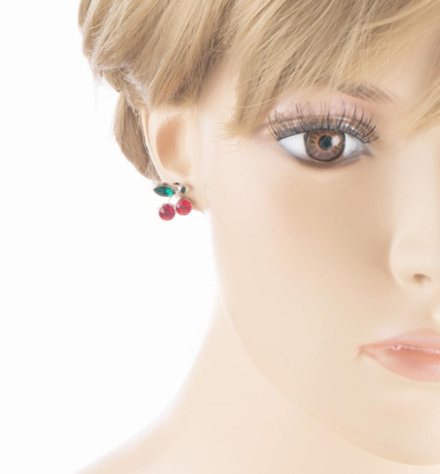 Adorable Cute Cherry Fruit Charm Stud Style Rhinestone Fashion Earrings E490