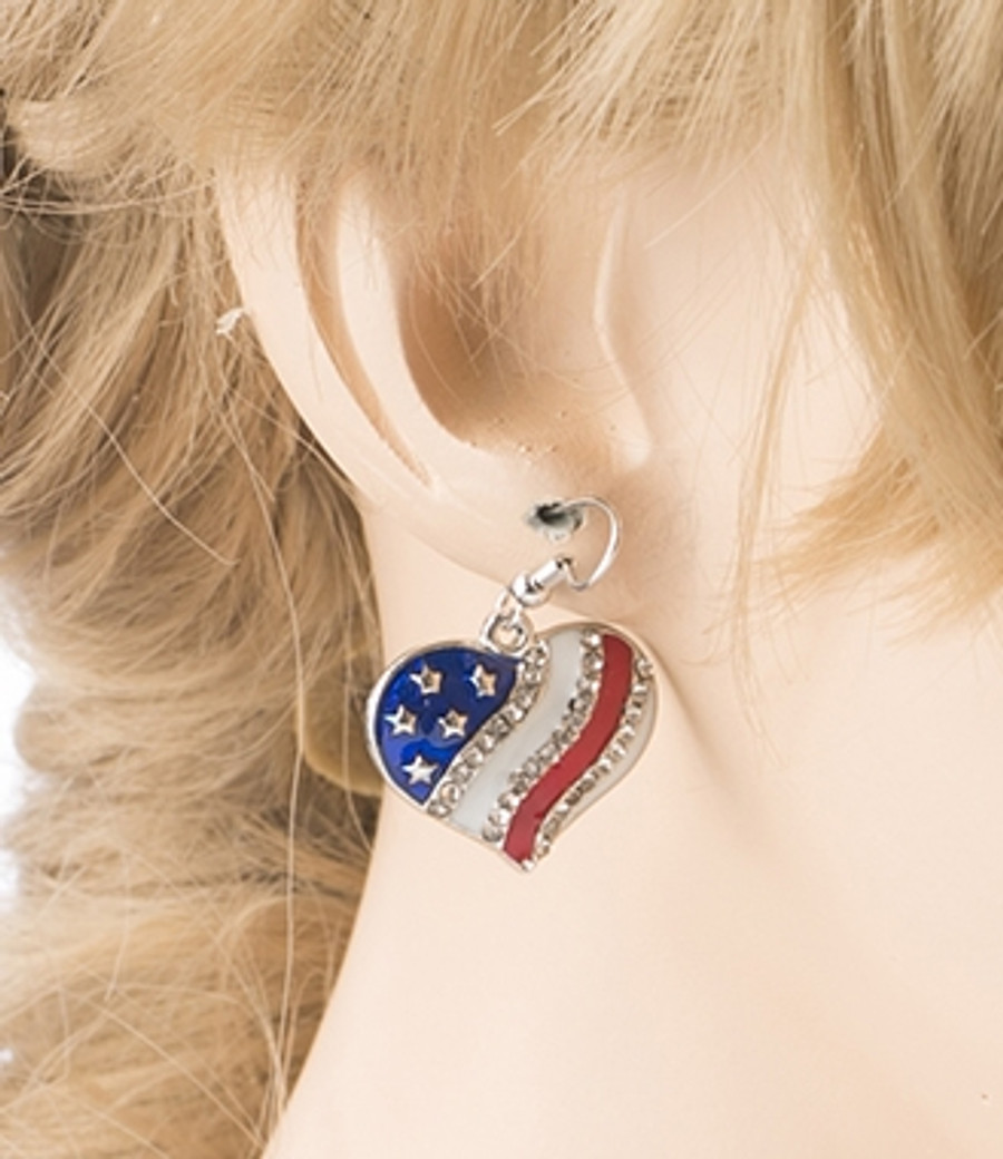 Patriotic American Flag Sparkle Crystal Rhinestone Wave Heart Earrings E685