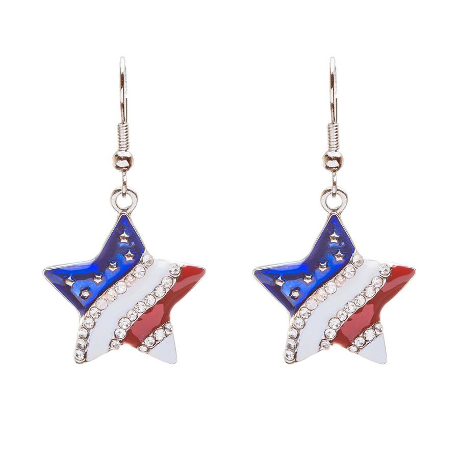 Patriotic American Flag Sparkle Crystal Rhinestone Wave Stripe Star Earrings