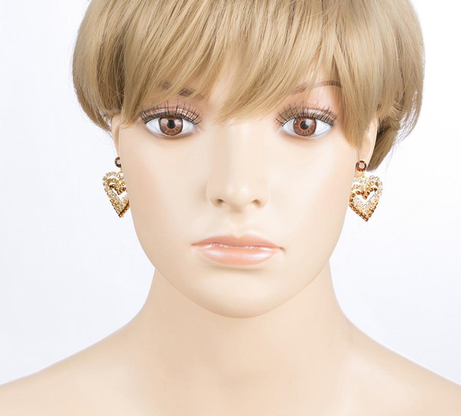 Valentines Jewelry Crystal Rhinestone Heart Charm Dangle Earrings E328 Gold