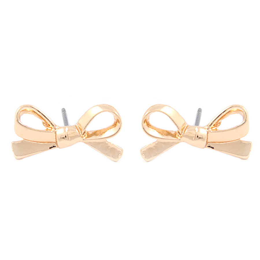 Cute Mini Bow Tie Ribbon Fashion Stud Post Earrings E615 Gold