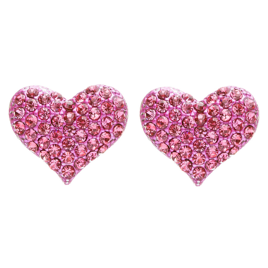 Lovely Sweet Beautiful Heart Shape Valentine's Stud Post Earrings E679 Fuchsia