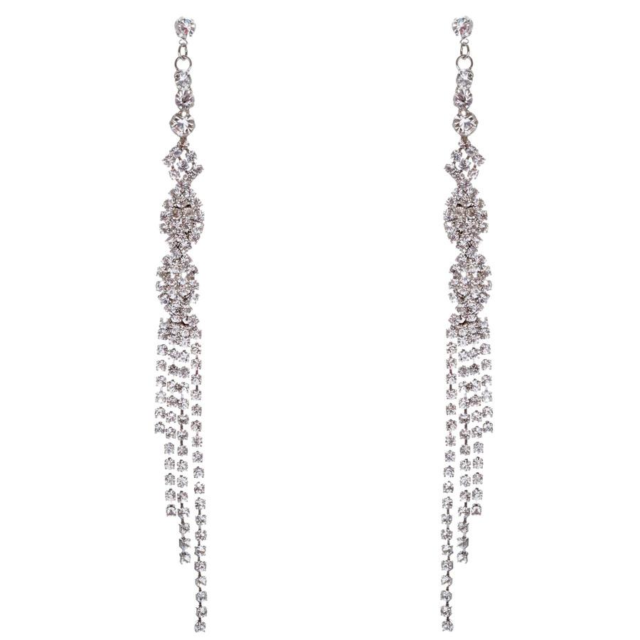Bridal Wedding Jewelry Crystal Rhinestone Unique Long Drop Dangle Earrings E947S