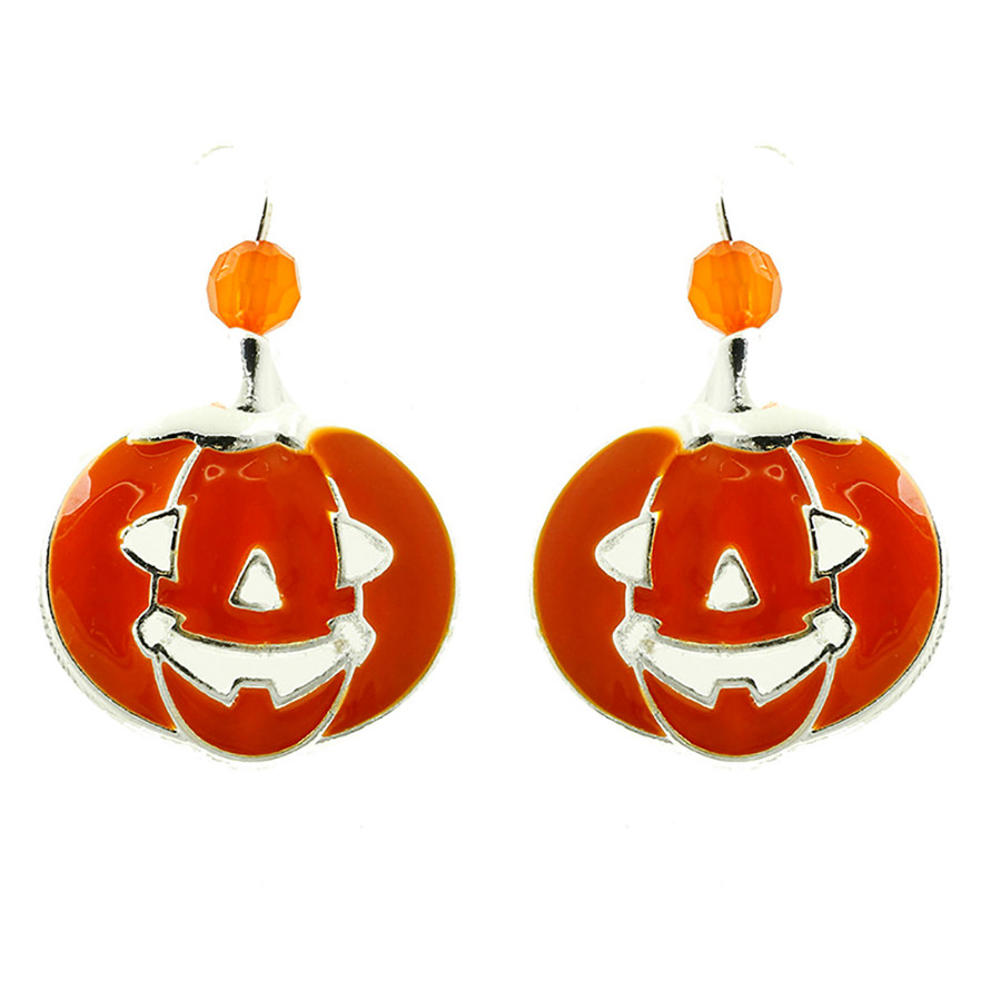 Halloween Costume Jewelry Pumpkin Charm Bead Fashion Earrings E1216 Orange