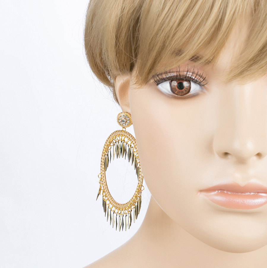 Draped Tassel Dangle Hoop Crystal Earrings Gold