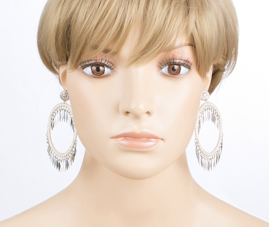 Draped Tassel Dangle Hoop Crystal Earrings Silver