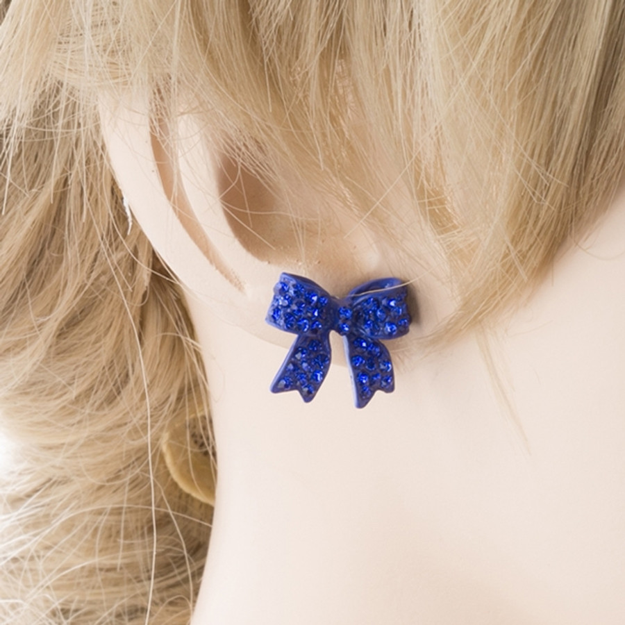 Fashion Crystal Pave Bow Ribbon Stud Earrings Blue