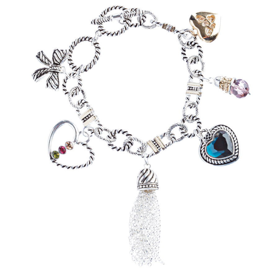 Heart Bow Charm Crystal Gem Toggle Link Bracelet Multi