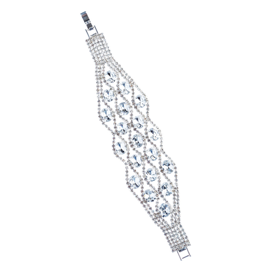 Bridal Wedding Jewelry Crystal Rhinestone Dazzling Stone Wide Bracelet Silver