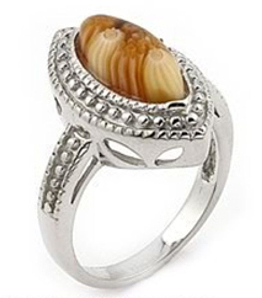 Brown Matte MILLEFIORI Marquise Sterling Silver Ring Size 8