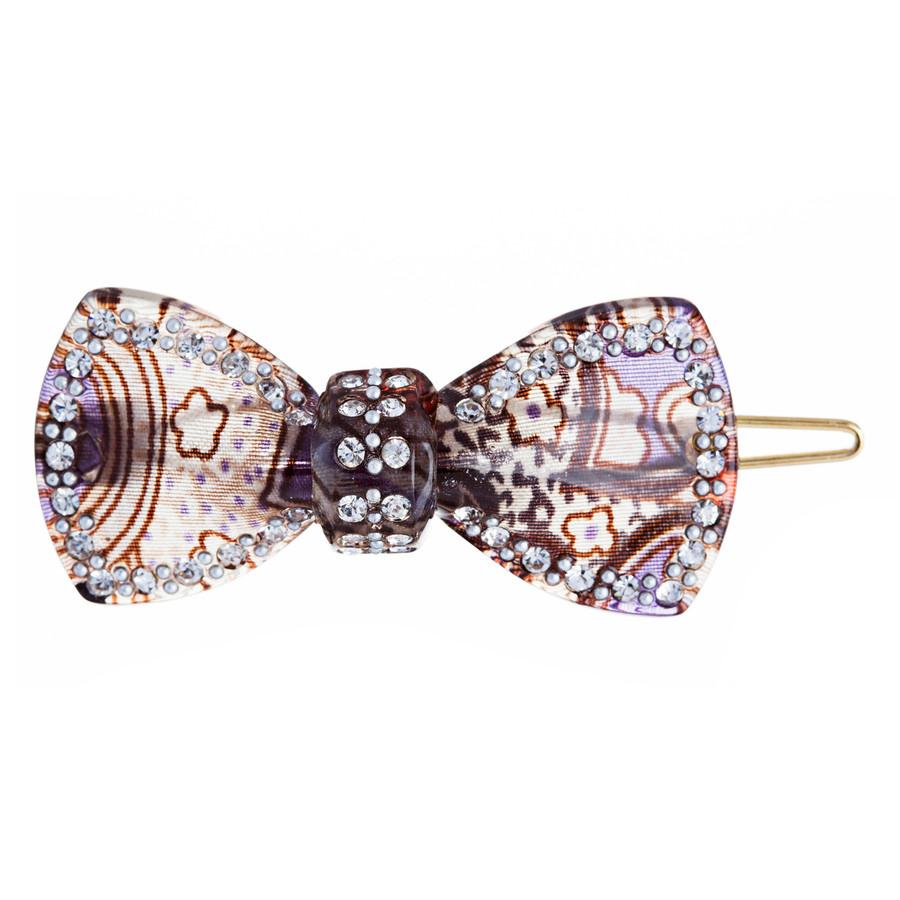 Woman Fashion Hair Clip Floral Ribbon Black NEW 2x1, lead compliant