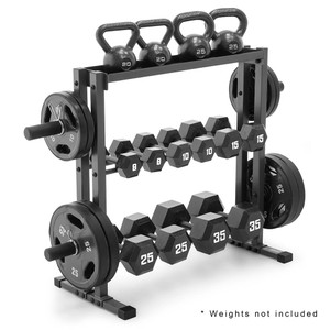 The Marcy Combo Weights Storage Rack DBR-0117 can save space by holding your weight plates, dumbbells, and kettle bells