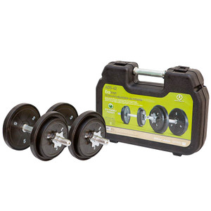 The ECO Iron 40 Lb. Adjustable Dumbbell Set with Case by Marcy will complete your workout even when you are not home