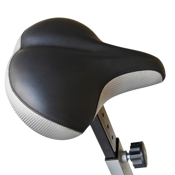 The Marcy AIR-1 Deluxe Fan Bike has a large comfortable seat