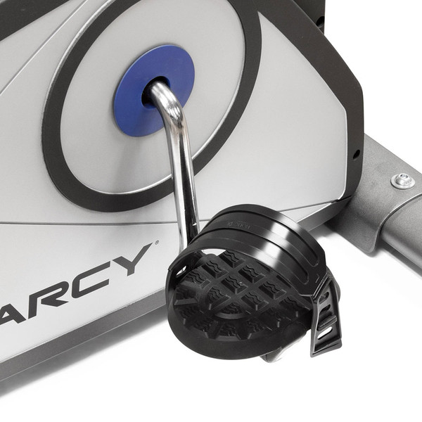 The Magnetic Upright Bike NS-40504U by Marcy has straps on the pedals for added safety