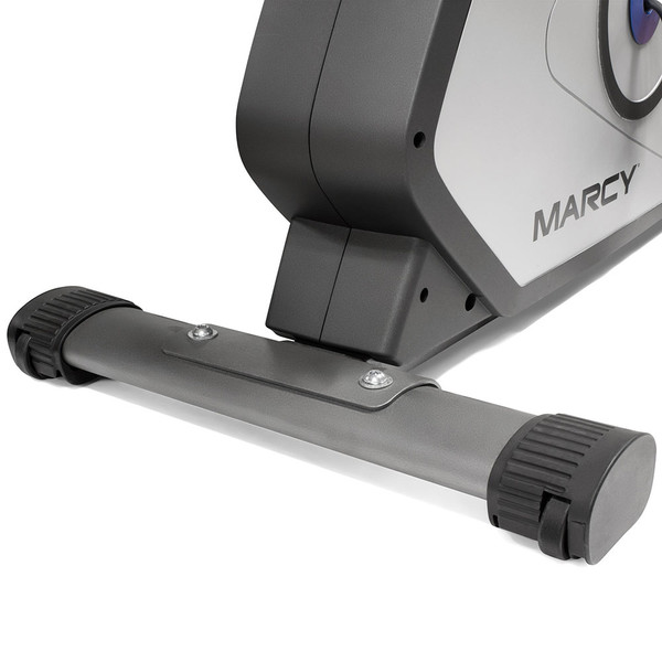The Magnetic Upright Bike NS-40504U by Marcy has wheels to easily move the bike