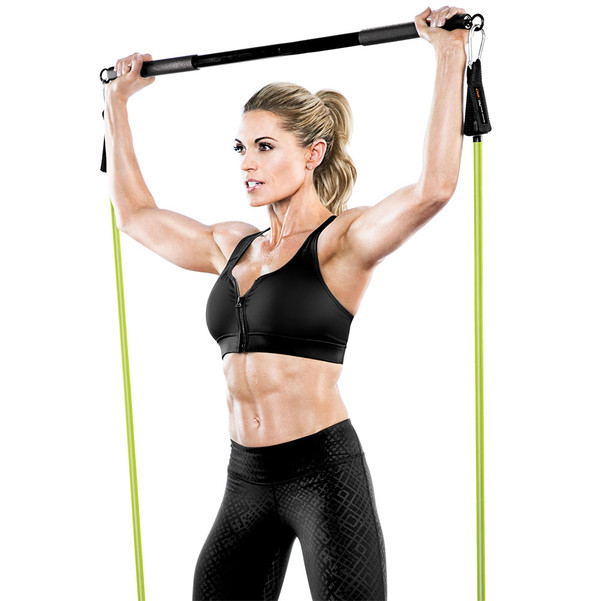 Bionic Body BBEB-020 Exercise Bar in use by Kim Lyons for squats