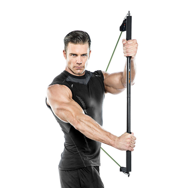 Bionic Body BBEB-020 Exercise Bar in use by model to add weight to HIIT conditioning
